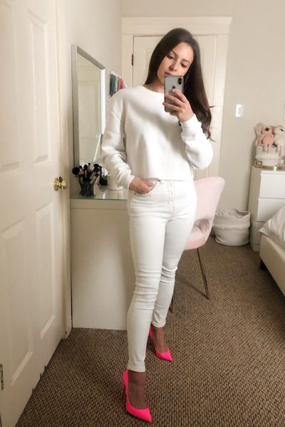 from blush to fuchsia - 5 ways to wear white denim jeans for spring - fromblushtofuchsia.com @fromblushtofuchsia